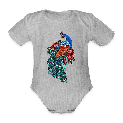 Farverig påfugl - Kortærmet babybody, økologisk bomuld