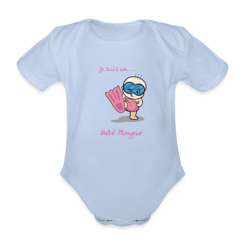 je suis un bebe plongeur rose - Body Bébé bio manches courtes