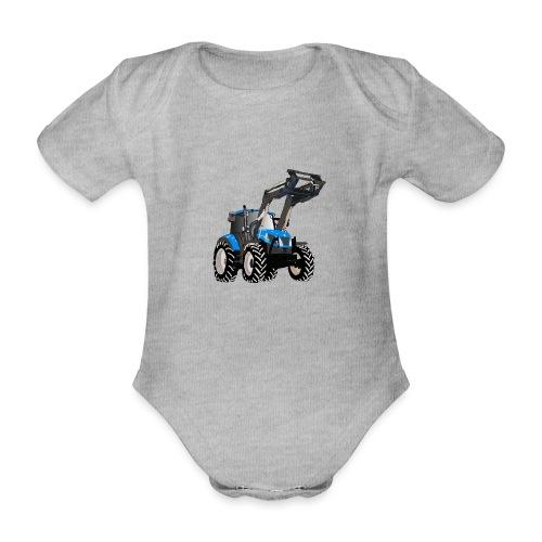 Blauer Traktor mit Frontlader - Baby Bio-Kurzarm-Body