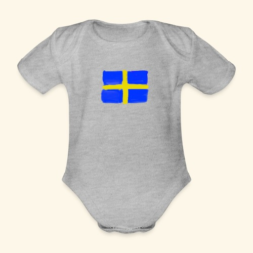Swedish flag in Watercolours - Ekologisk kortärmad babybody