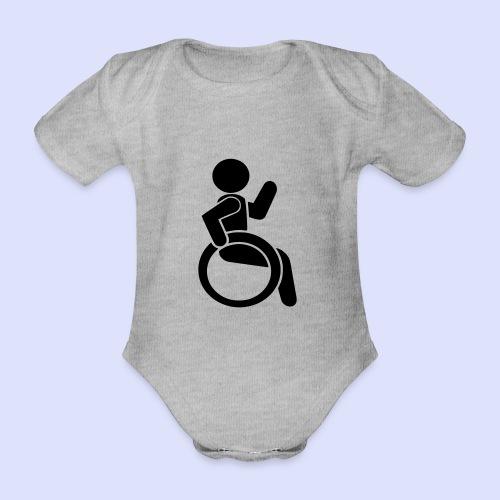 Zwaaiende rolstoel gebruiker 001 - Baby bio-rompertje met korte mouwen