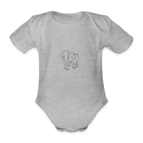 Olifanten - Baby bio-rompertje met korte mouwen