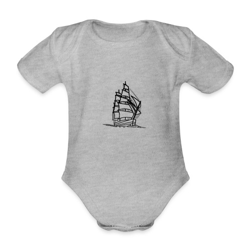 Segelschiff Illustration Meer Schiff Bootsfahrt - Baby Bio-Kurzarm-Body