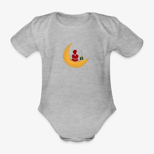 Santa sur un croissant de lune - Organic Short-sleeved Baby Bodysuit
