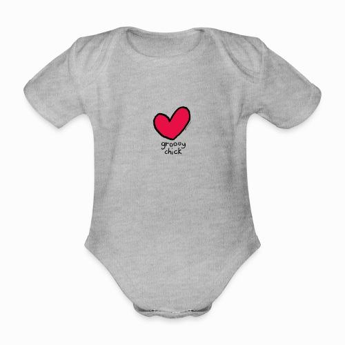 groovy chick heart - Organic Short-sleeved Baby Bodysuit
