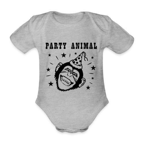 Party Monkey - Baby bio-rompertje met korte mouwen