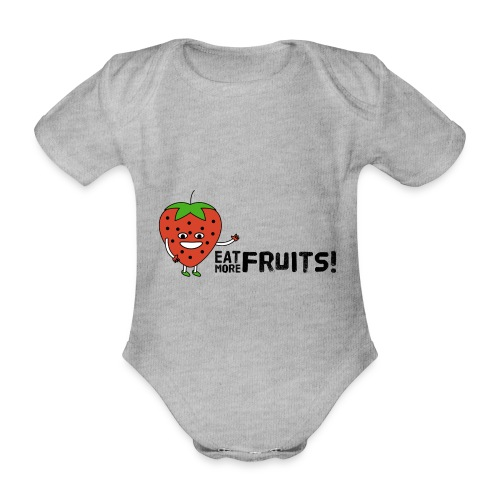 Eat More Fruits! strawberry - Organic Short-sleeved Baby Bodysuit