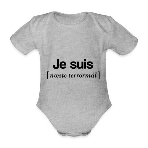 Je suis (sort skrift) - Kortærmet babybody, økologisk bomuld
