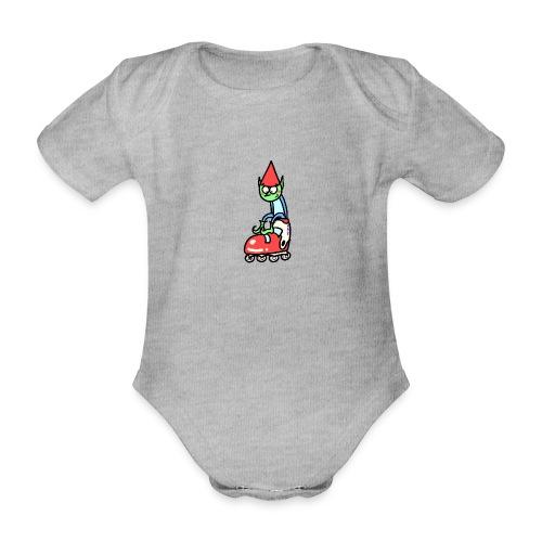 El gnomo en el patín - Body orgánico de maga corta para bebé