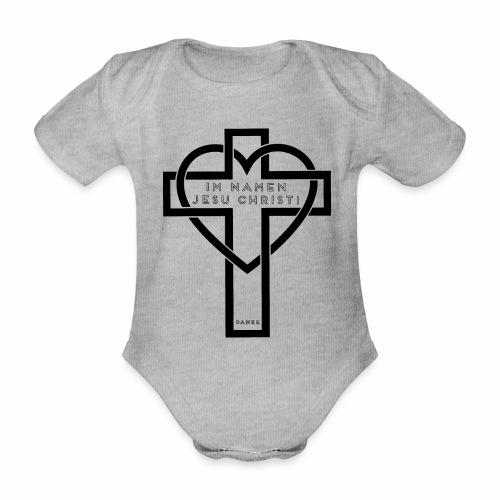Im Namen JESU CHRISTI - schwarz - Baby Bio-Kurzarm-Body