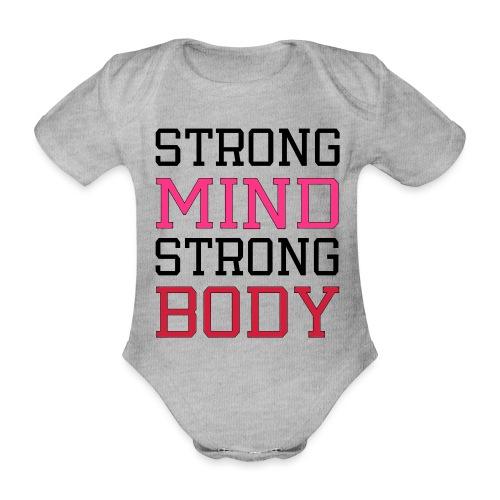 strong mind strong body - Kortærmet babybody, økologisk bomuld