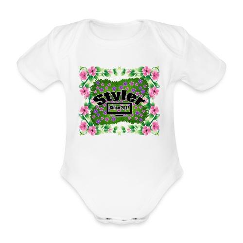 Styler Bloemen Design - Baby bio-rompertje met korte mouwen