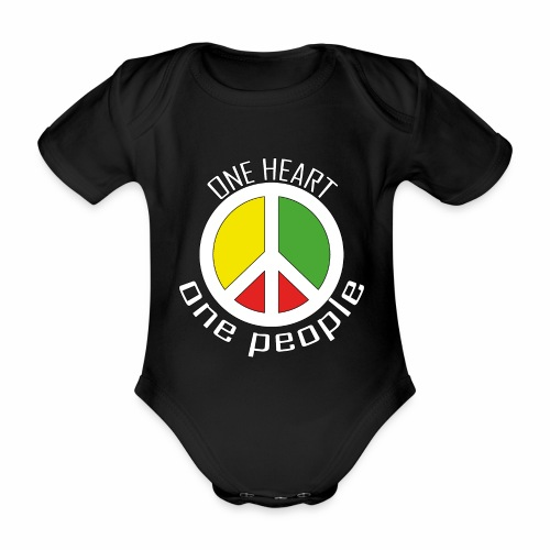 One Heart, One People - Peace - rot, gelb, grün - Baby Bio-Kurzarm-Body