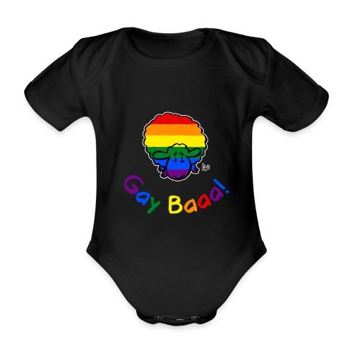 Homosexuell Baaa! Pride Sheep (schwarze Ausgabe Regenbogentext) - Baby Bio-Kurzarm-Body