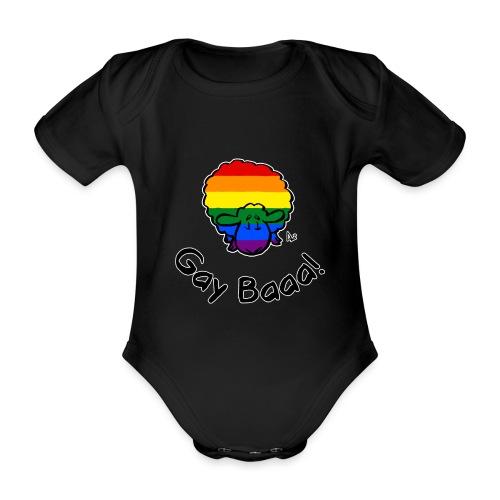 Gay Baaa! Rainbow Pride Sheep (black edition) - Organic Short-sleeved Baby Bodysuit