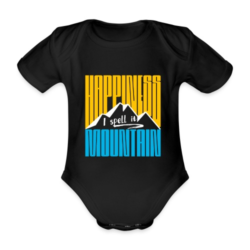 Happiness I spell it Mountain Outdoor Wandern Berg - Baby Bio-Kurzarm-Body