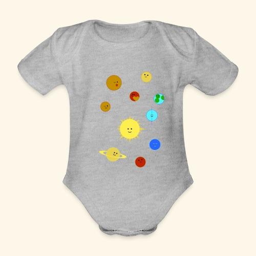 Solsystem svart - Ekologisk kortärmad babybody