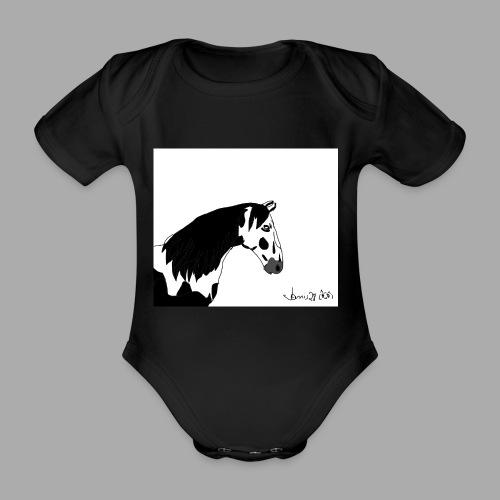 Pferdekopf mit Unterschrift - Baby Bio-Kurzarm-Body