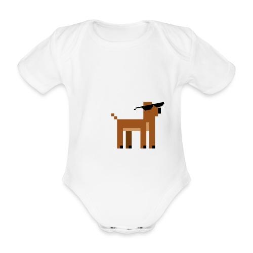 Christmas Xmas Deer Pixel Funny - Organic Short-sleeved Baby Bodysuit