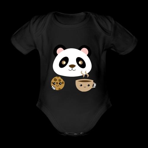 Oso Panda Merendando - Body orgánico de maga corta para bebé