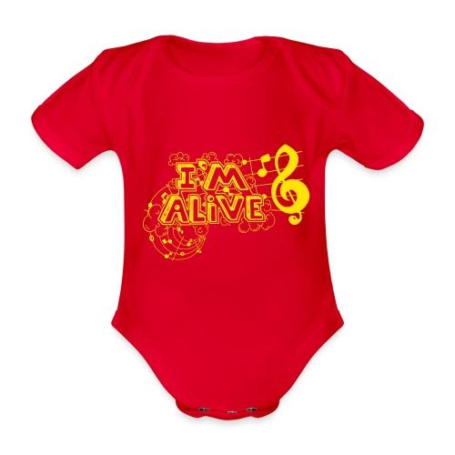 i m alive geel png - Baby bio-rompertje met korte mouwen