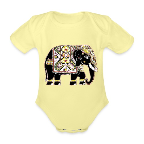 Indian elephant for luck - Organic Short-sleeved Baby Bodysuit