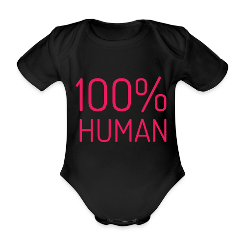 100% Human in roze - Baby bio-rompertje met korte mouwen
