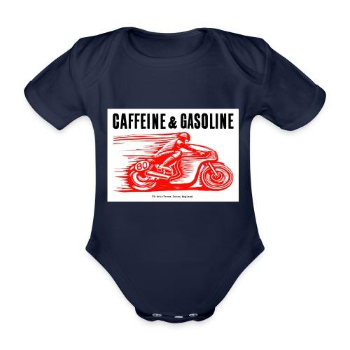Caffeine & Gasoline black text - Organic Short-sleeved Baby Bodysuit