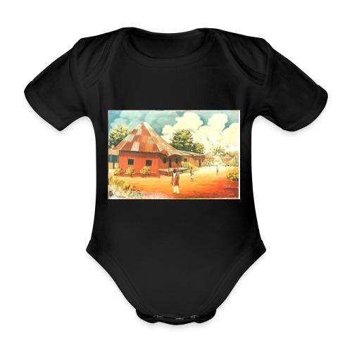 Rural African Village Scene Sofa pillow cover 44 x - Organic Short-sleeved Baby Bodysuit