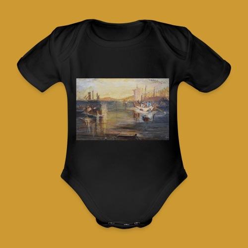 White Fishing - Mark Noble Art - Organic Short-sleeved Baby Bodysuit