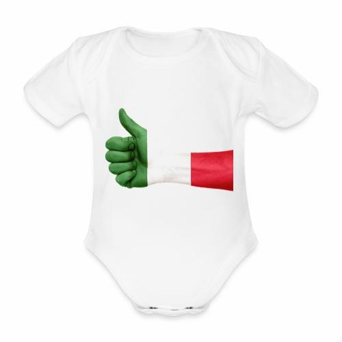 Italienische Flagge auf Daum - Baby Bio-Kurzarm-Body