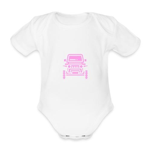 Outdoors pink car jeep - Ekologiczne body niemowlęce z krótkim rękawem