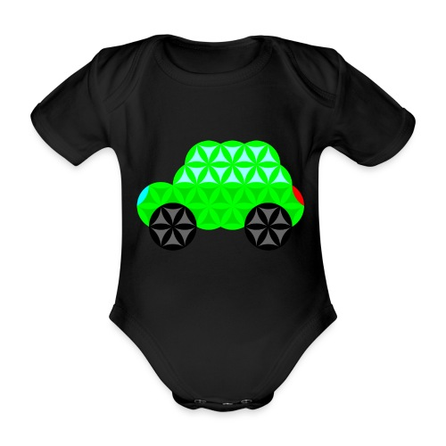 The Car Of Life - M01, Sacred Shapes, Green/R01. - Organic Short-sleeved Baby Bodysuit