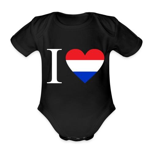 Ik hou van Nederland | Hart met rood wit blauw - Baby bio-rompertje met korte mouwen