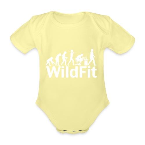 WildFit Logo Evolution Weiß - Baby Bio-Kurzarm-Body