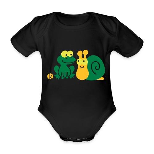 Frosch und Schnecke (c2) Freundschaft - Baby Bio-Kurzarm-Body