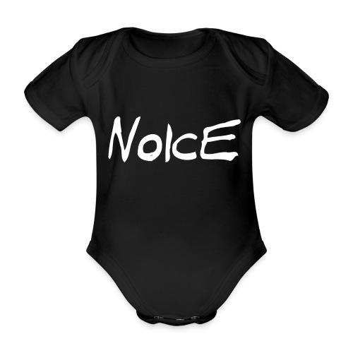 Noice - White logo - Organic Short-sleeved Baby Bodysuit