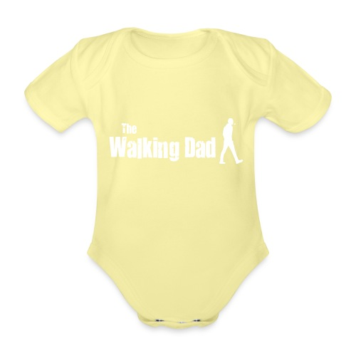 the walking dad white text on black - Organic Short-sleeved Baby Bodysuit