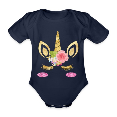 unicorn face - Baby Bio-Kurzarm-Body
