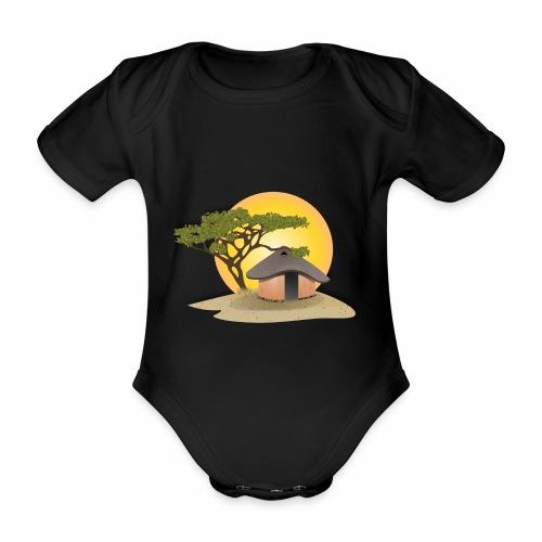 african hut vector art - Organic Short-sleeved Baby Bodysuit