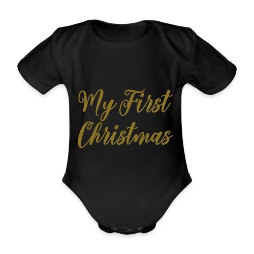 First christmas - Baby bio-rompertje met korte mouwen