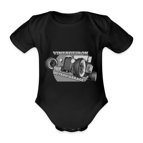 hotrod vintage grau - Baby Bio-Kurzarm-Body