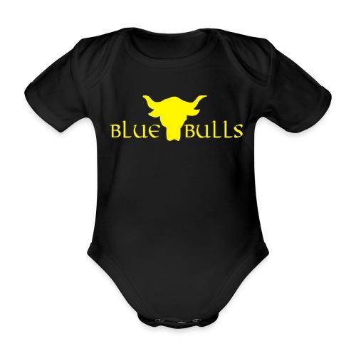 blue bull logo gelb - Baby Bio-Kurzarm-Body