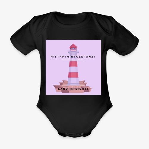 Histaminintoleranz – Land in Sicht (lila) - Baby Bio-Kurzarm-Body