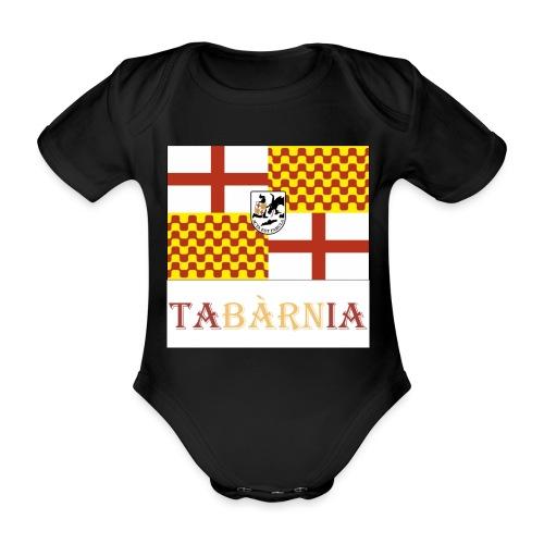 Bandera Tabarnia con escudo y nombre - Body orgánico de maga corta para bebé