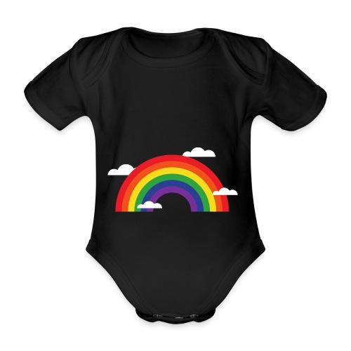 Regenbogen mit Wolken | Geschenk Idee - Baby Bio-Kurzarm-Body