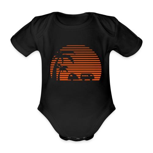 Camper Sonne Bus Palmen Surfen Strand Beach Urlaub - Baby Bio-Kurzarm-Body