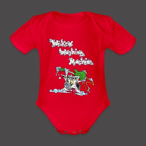 Wicked Washing Machine Cartoon and Logo - Baby bio-rompertje met korte mouwen