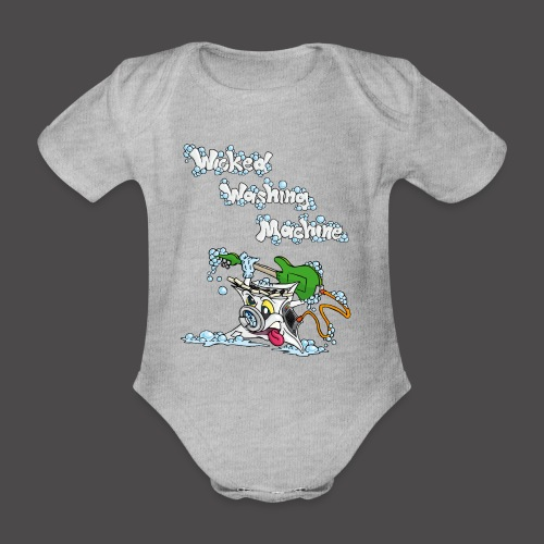 Wicked Washing Machine Cartoon and Logo - Baby bio-rompertje met korte mouwen