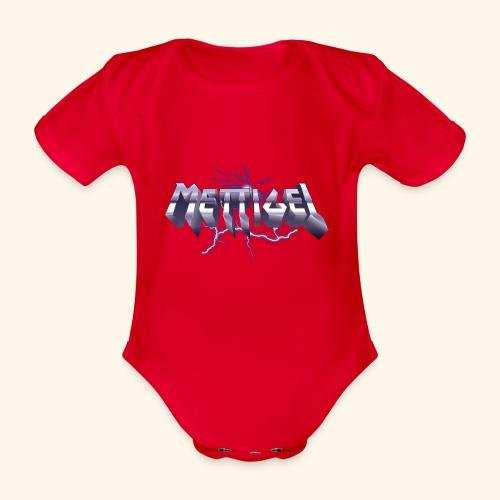 Mettigel T Shirt Design Heavy Metal Schriftzug - Baby Bio-Kurzarm-Body